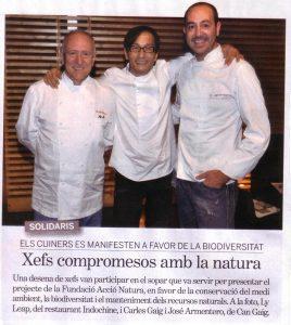 Cena a favor de la biodiversidad (Carles Gaig, Ly Leap y Josep Armenteros)